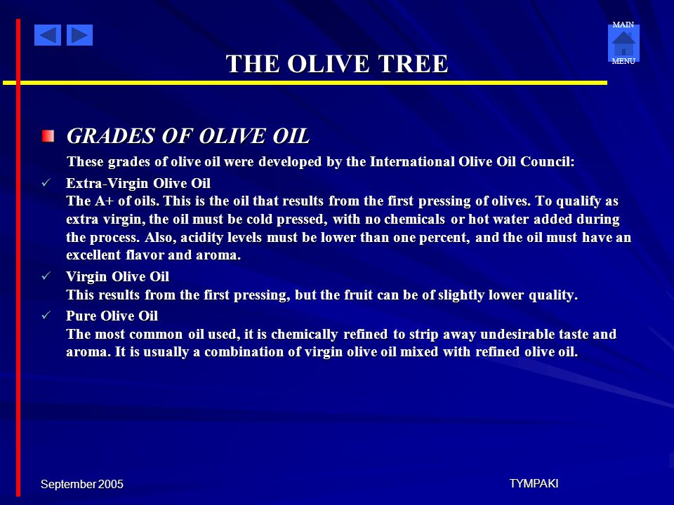 THE OLIVE TREE GRADES OF OLIVE OIL