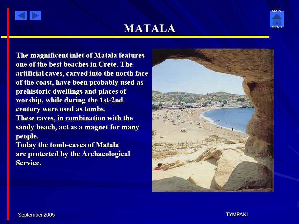 MATALA The magnificent inlet of Matala features