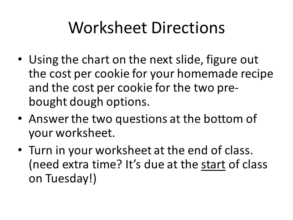 Worksheet Directions