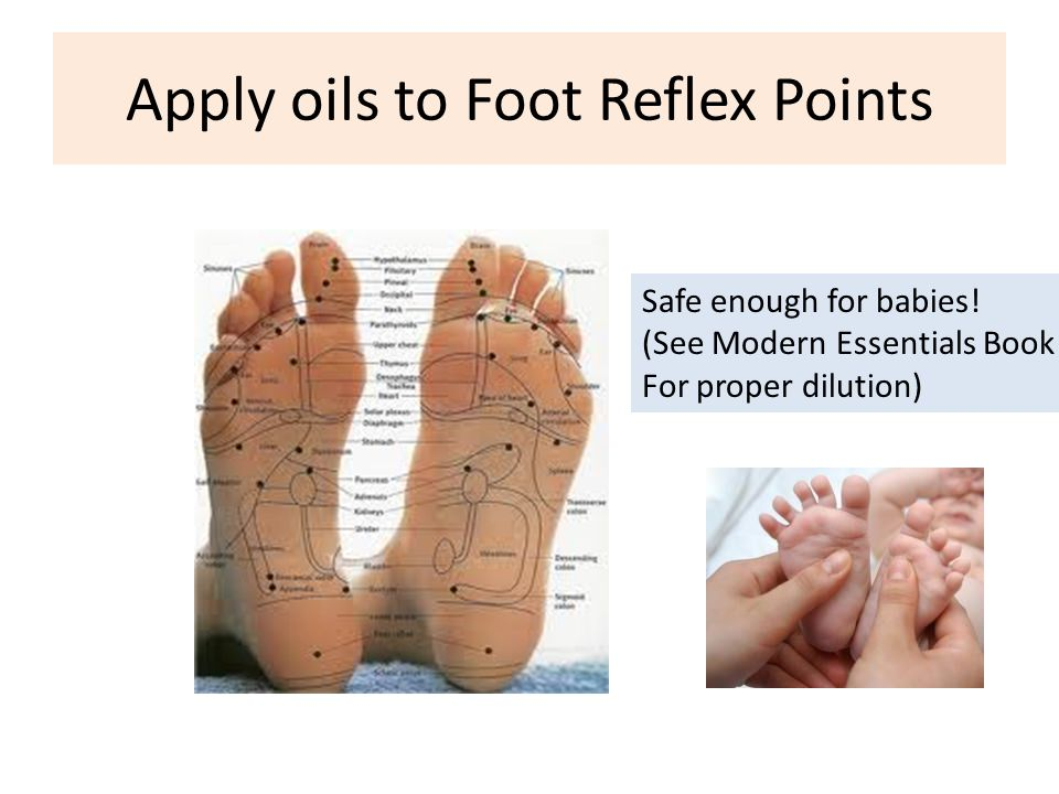 Apply oils to Foot Reflex Points