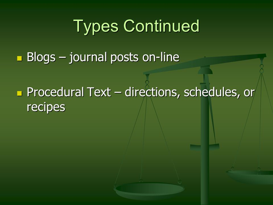 Types Continued Blogs – journal posts on-line