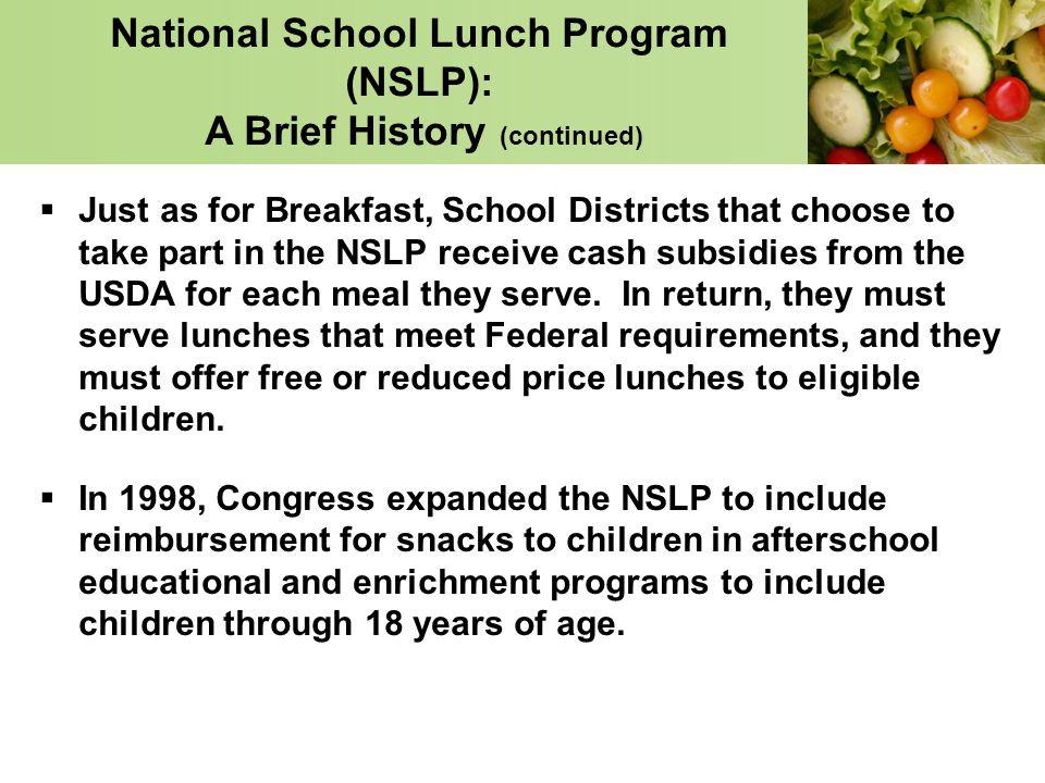changes to breakfast and lunch programs National school lunch program  system used by schools and community agencies enrolled in usda child nutrition programs through ode to submit  school breakfast.
