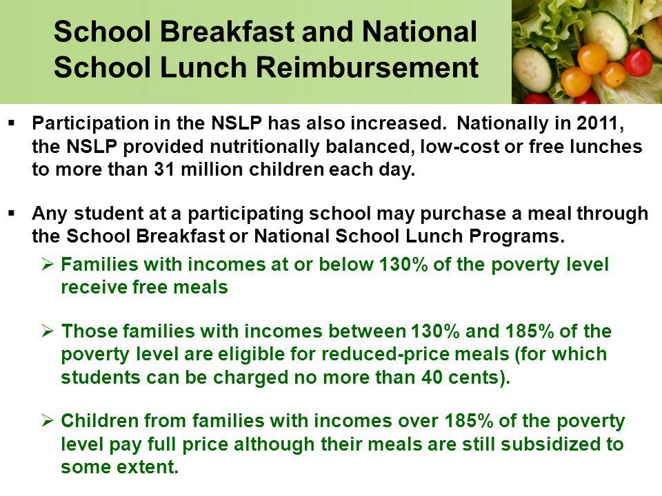 School Breakfast and National School Lunch Reimbursement