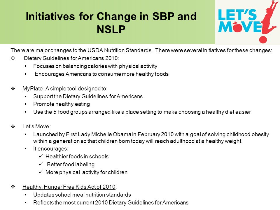 Initiatives for Change in SBP and NSLP