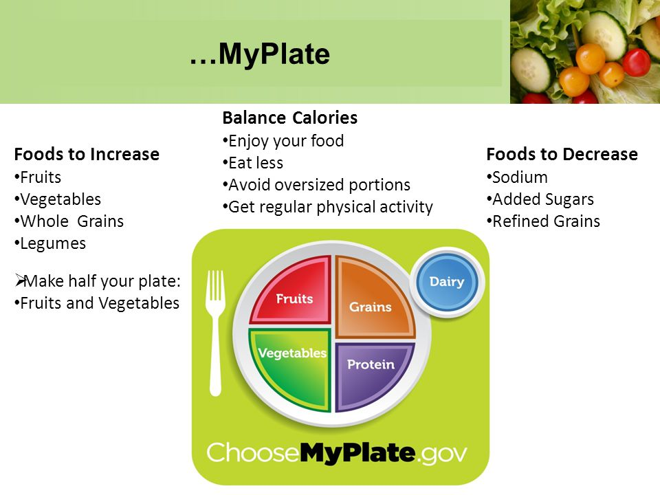 …MyPlate Balance Calories Foods to Increase Foods to Decrease