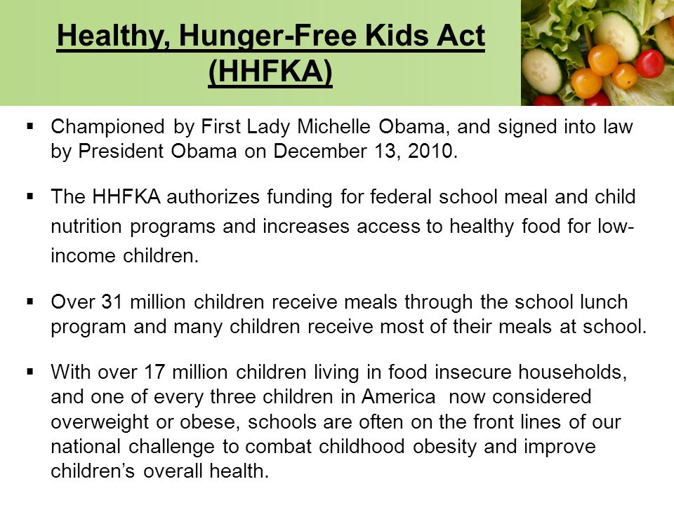 Healthy, Hunger-Free Kids Act (HHFKA)