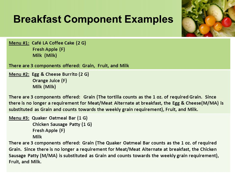 Breakfast Component Examples