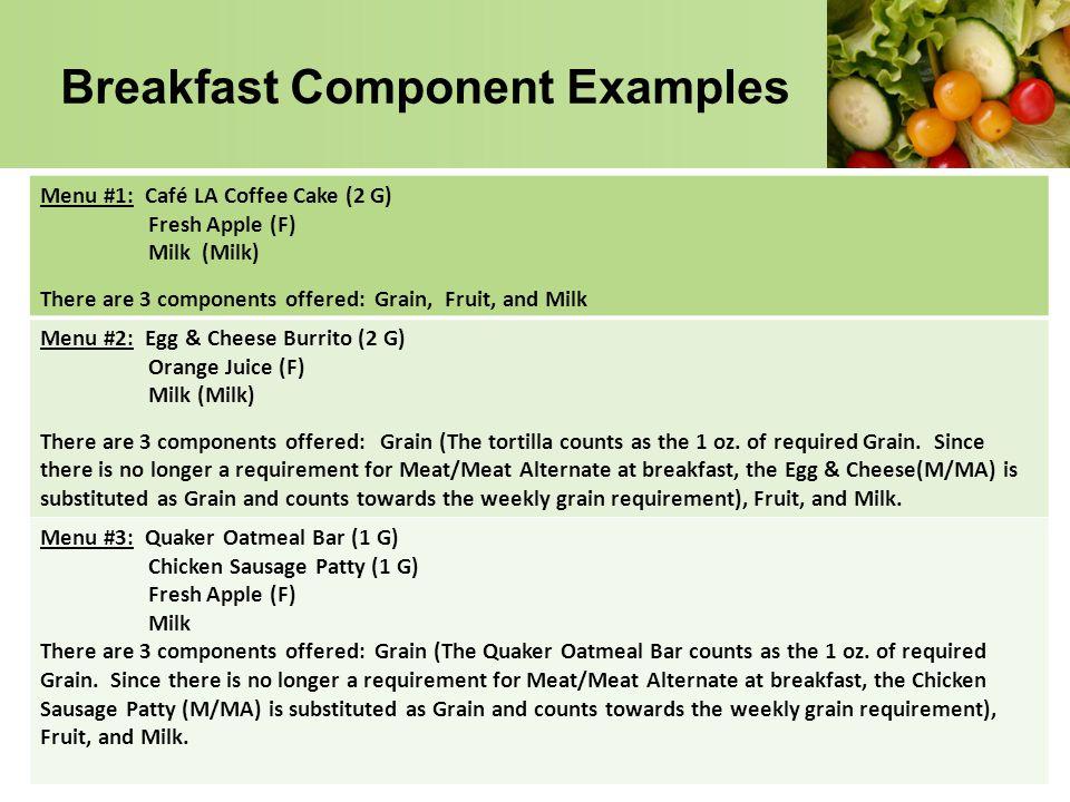 Breakfast Component Examples