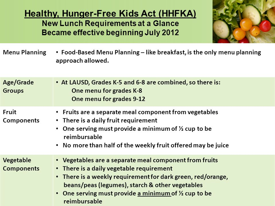 Healthy, Hunger-Free Kids Act (HHFKA) New Lunch Requirements at a Glance Became effective beginning July 2012
