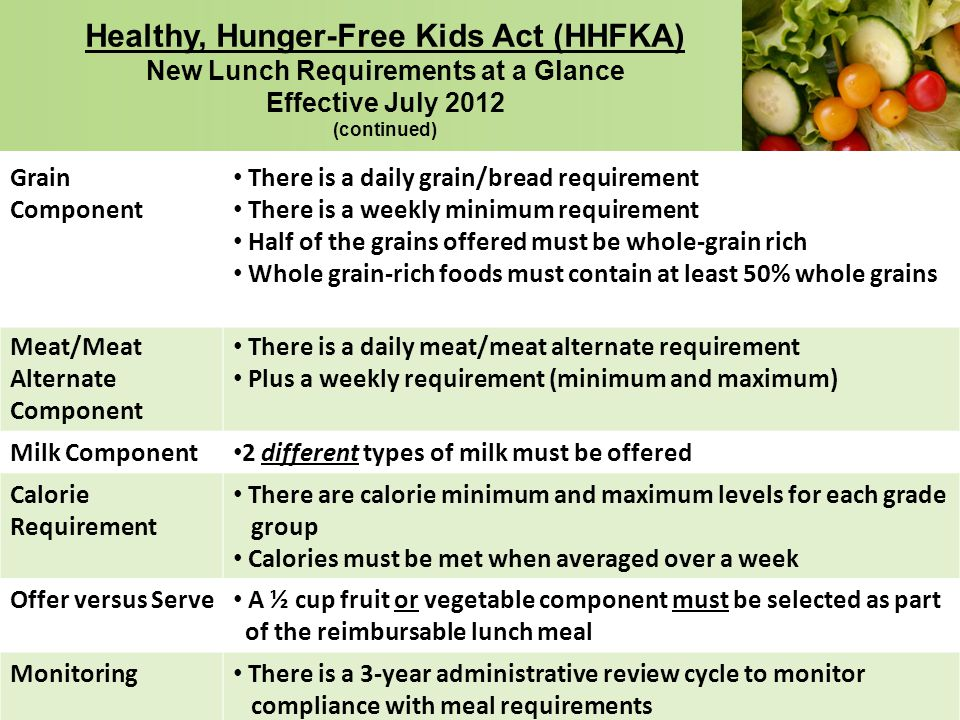 Healthy, Hunger-Free Kids Act (HHFKA) New Lunch Requirements at a Glance Effective July 2012 (continued)