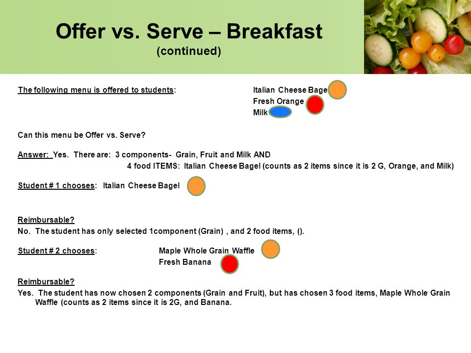 Offer vs. Serve – Breakfast (continued)