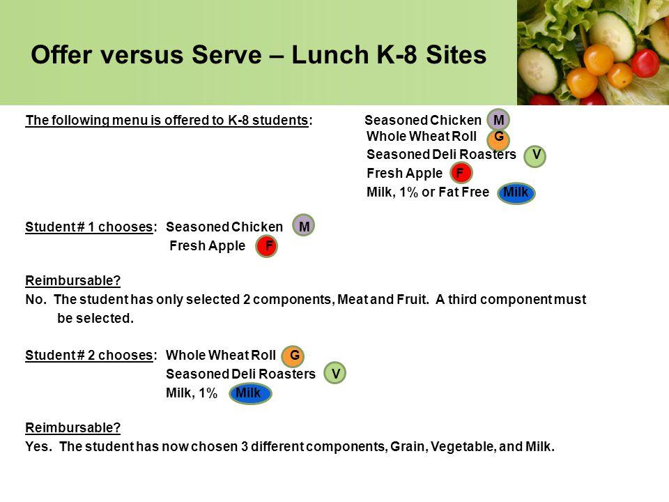 Offer versus Serve – Lunch K-8 Sites