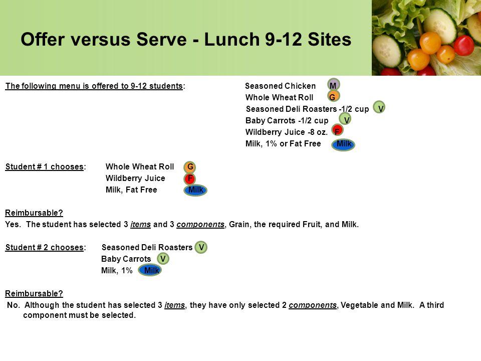 Offer versus Serve - Lunch 9-12 Sites