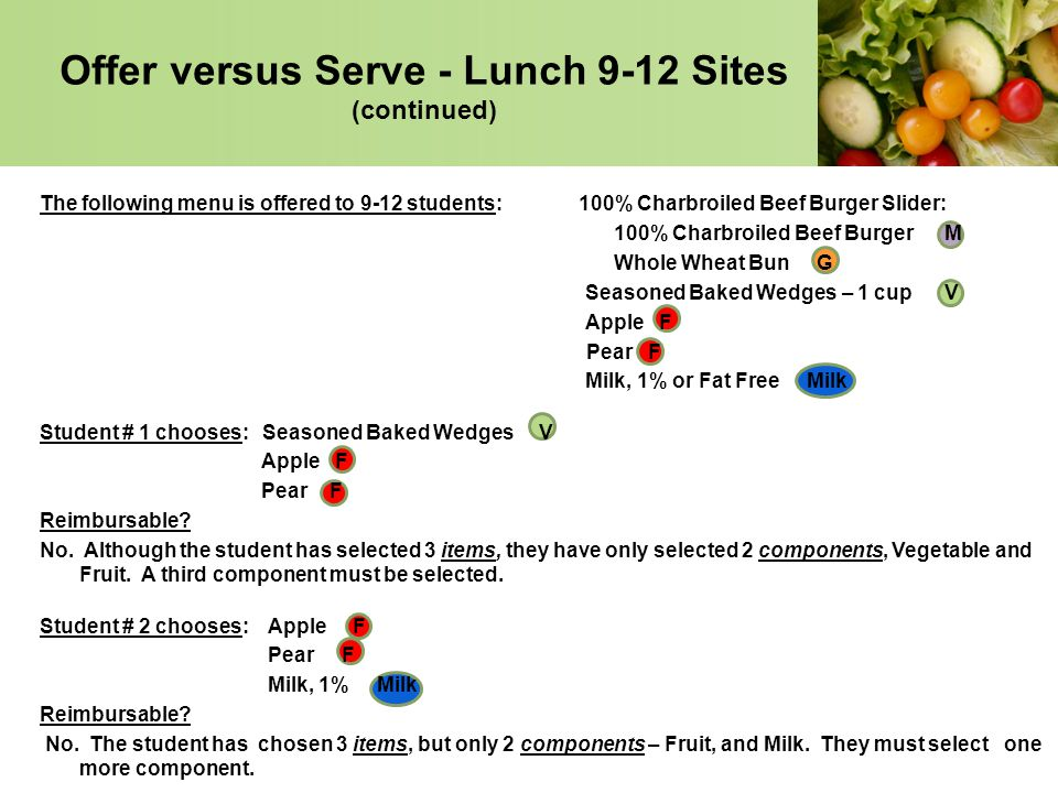 Offer versus Serve - Lunch 9-12 Sites (continued)