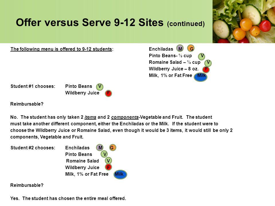 Offer versus Serve 9-12 Sites (continued)