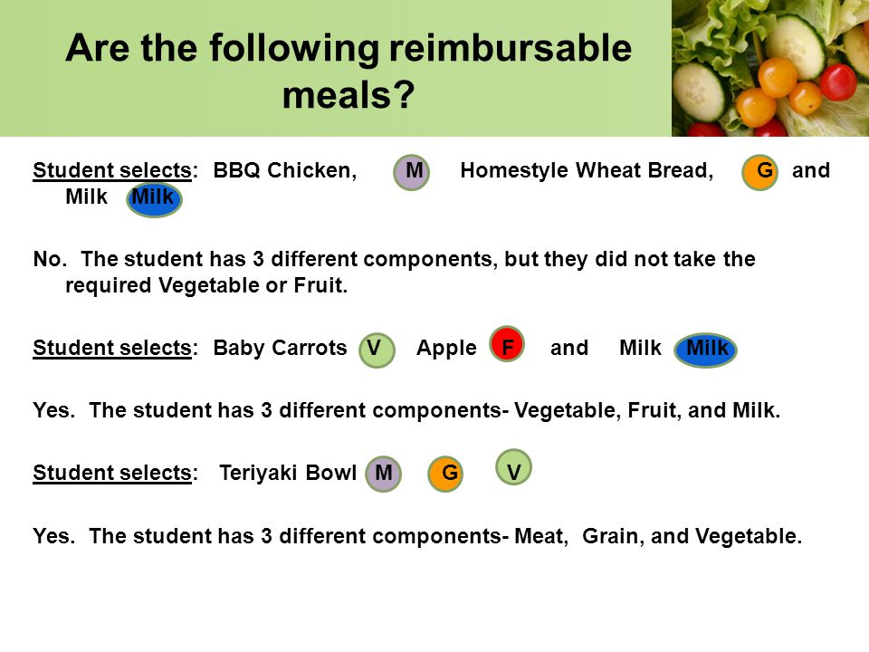 Are the following reimbursable meals