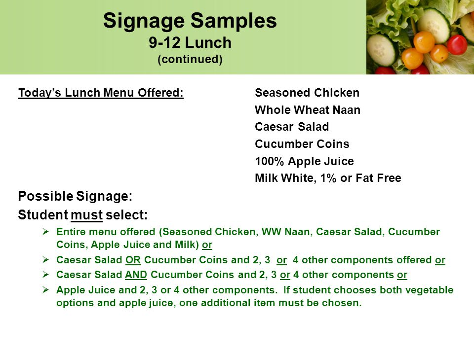 Signage Samples 9-12 Lunch (continued)