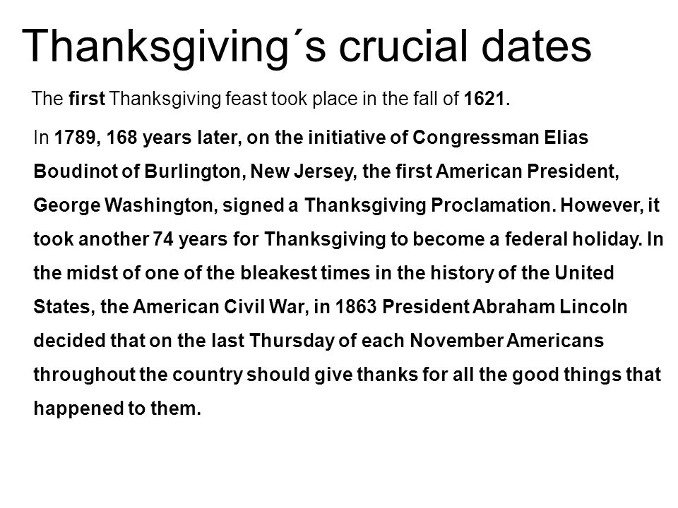Thanksgiving´s crucial dates