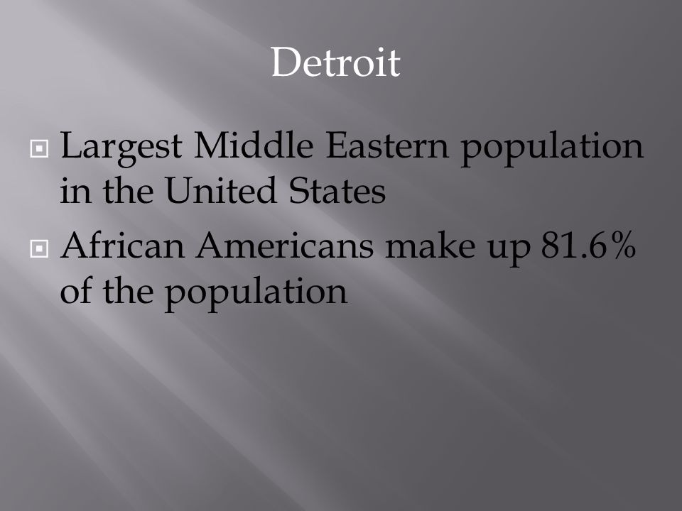 Detroit Largest Middle Eastern population in the United States
