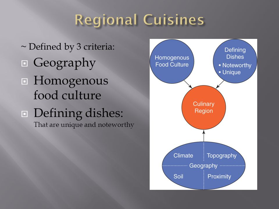 Regional Cuisines Geography Homogenous food culture