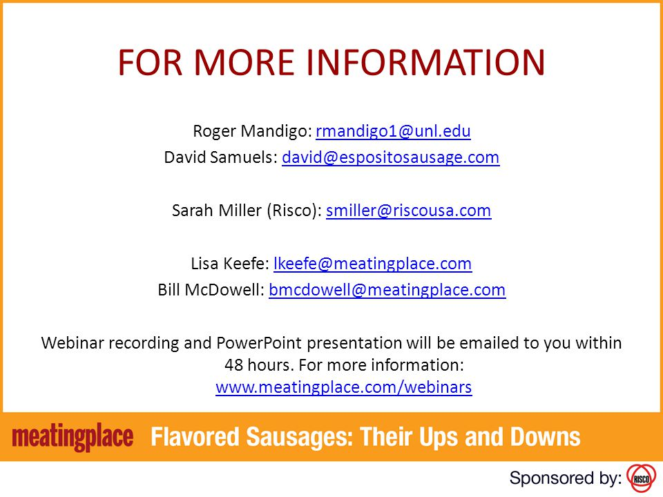 FOR MORE INFORMATION Roger Mandigo: rmandigo1@unl.edu