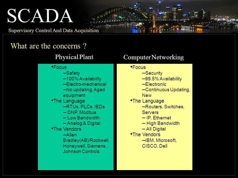 SCADA What are the concerns Physical Plant Computer Networking