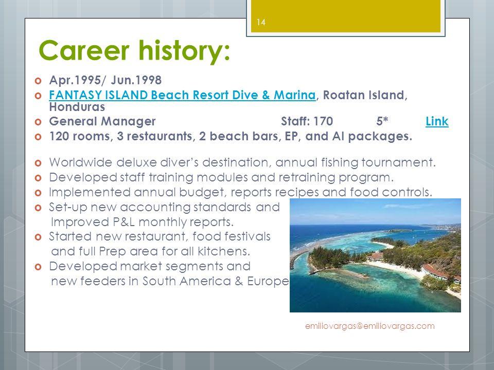 Career history: Apr.1995/ Jun.1998