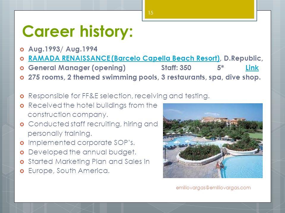 Career history: Aug.1993/ Aug.1994