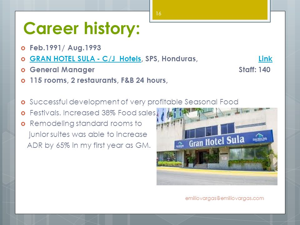 Career history: Feb.1991/ Aug.1993