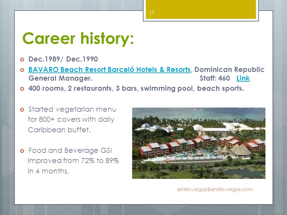 Career history: Dec.1989/ Dec.1990