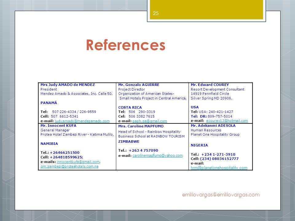 References emiliovargas@emiliovargas.com hrm@planetonehospitality.com