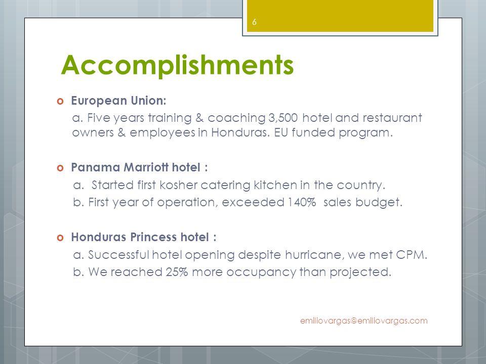 Accomplishments European Union: