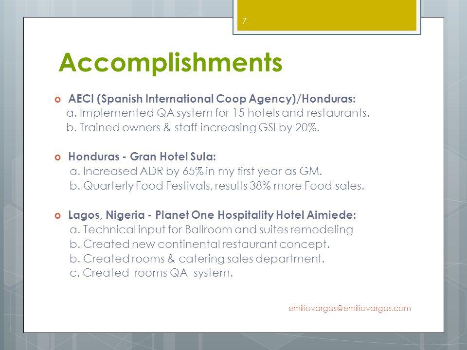 Accomplishments AECI (Spanish International Coop Agency)/Honduras: