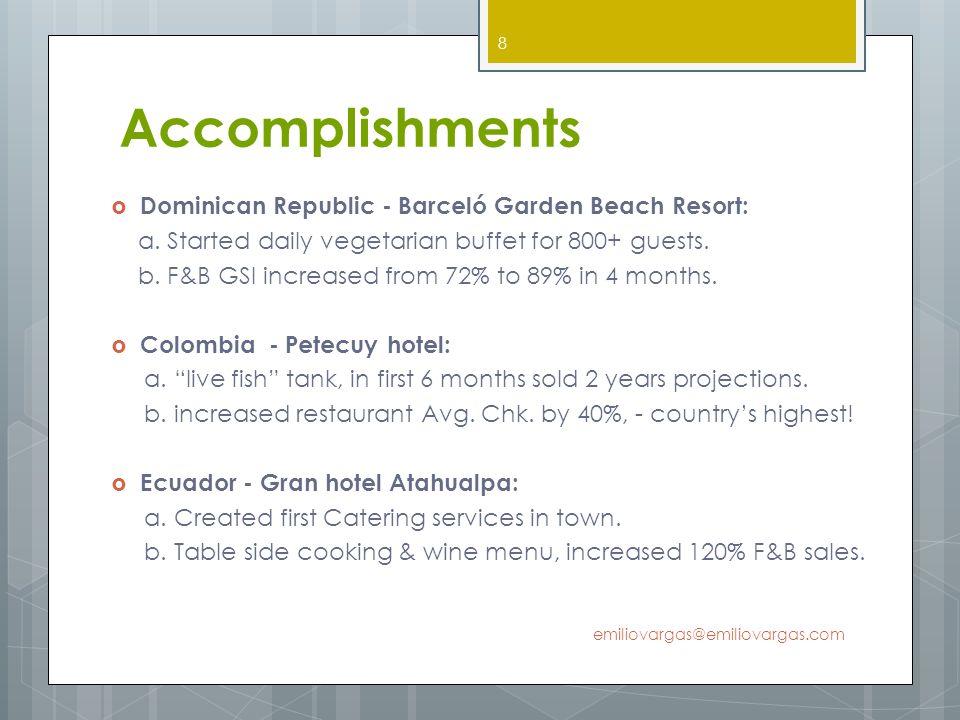 Accomplishments Dominican Republic - Barceló Garden Beach Resort: