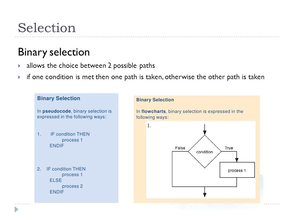 Selection Binary selection allows the choice between 2 possible paths