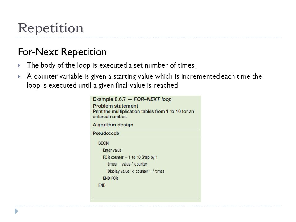 Repetition For-Next Repetition
