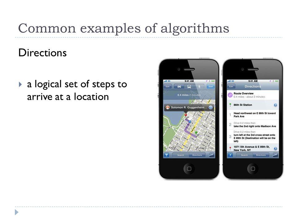 Common examples of algorithms