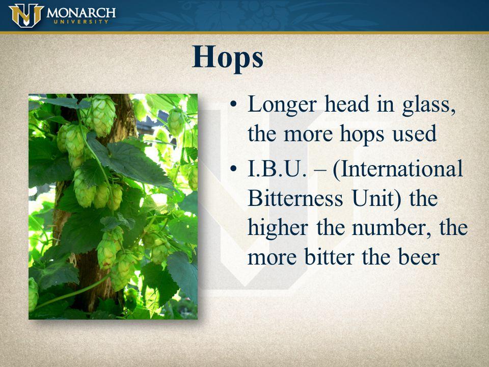 Hops Longer head in glass, the more hops used