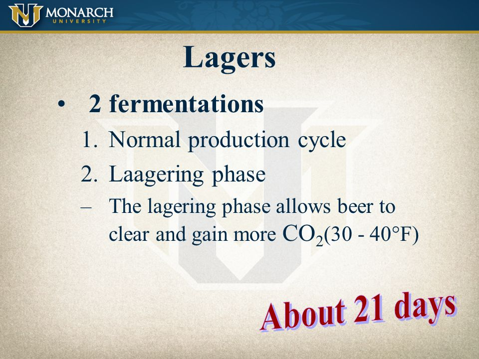 Lagers 2 fermentations Normal production cycle Laagering phase
