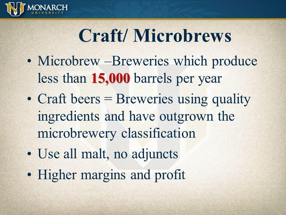 Craft/ Microbrews Microbrew –Breweries which produce less than 15,000 barrels per year.