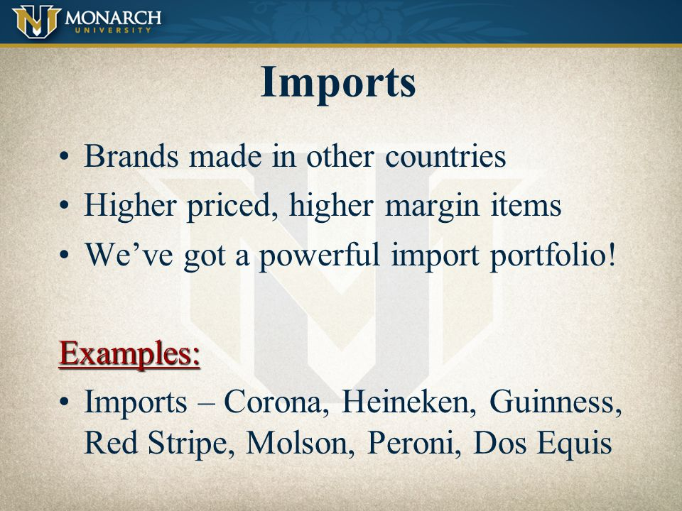 Imports Brands made in other countries