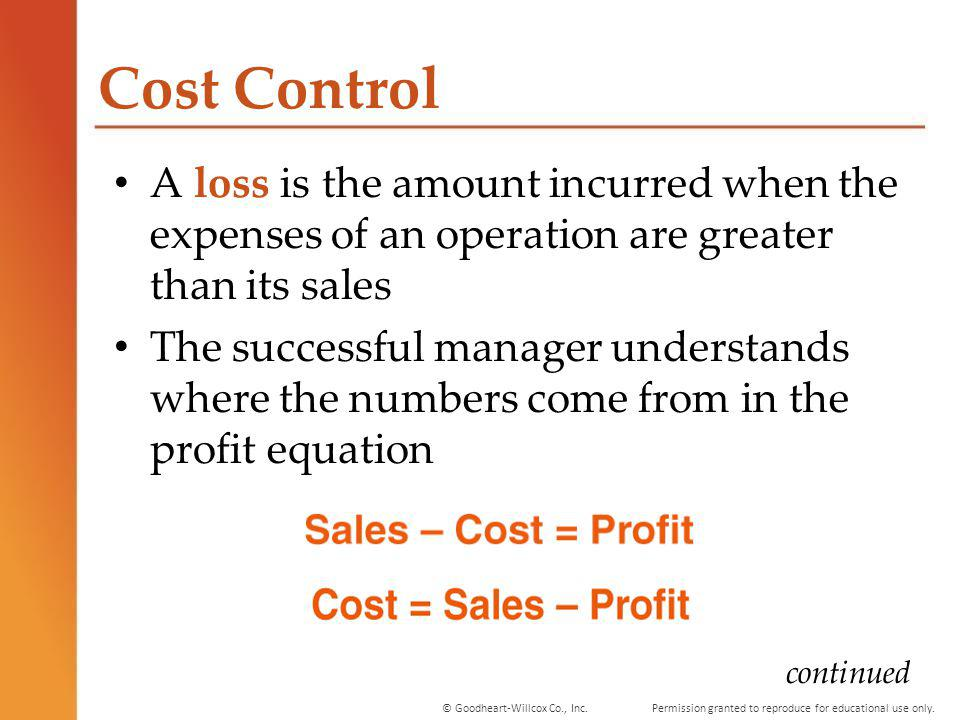 Cost Control A loss is the amount incurred when the expenses of an operation are greater than its sales.