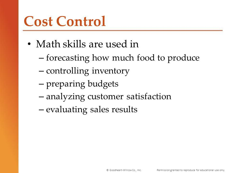 Cost Control Math skills are used in