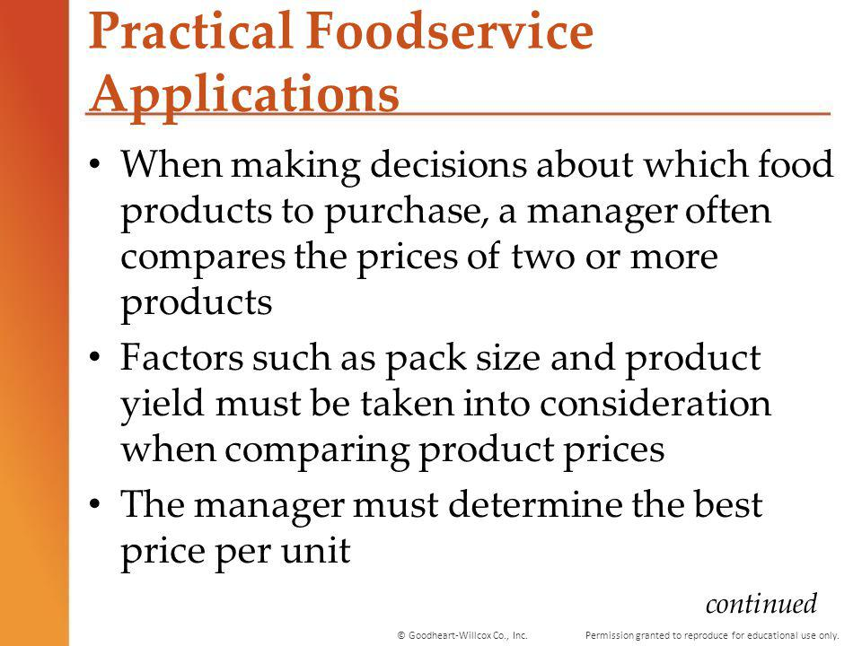 Practical Foodservice Applications