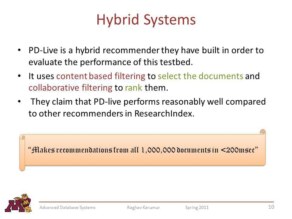 Hybrid Systems PD-Live is a hybrid recommender they have built in order to evaluate the performance of this testbed.