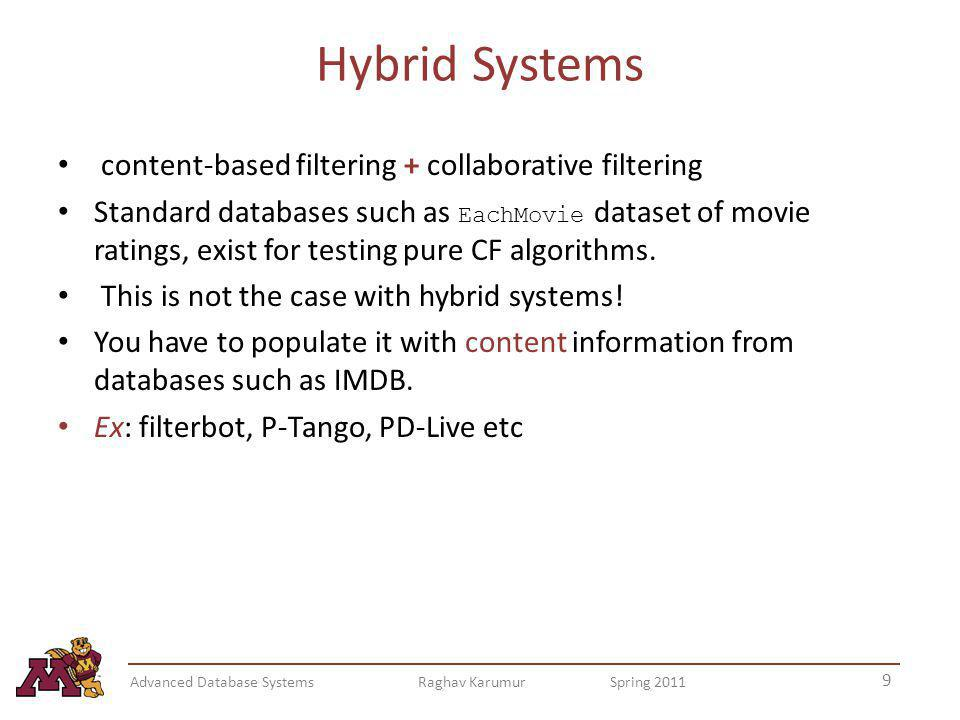 Hybrid Systems content-based filtering + collaborative filtering