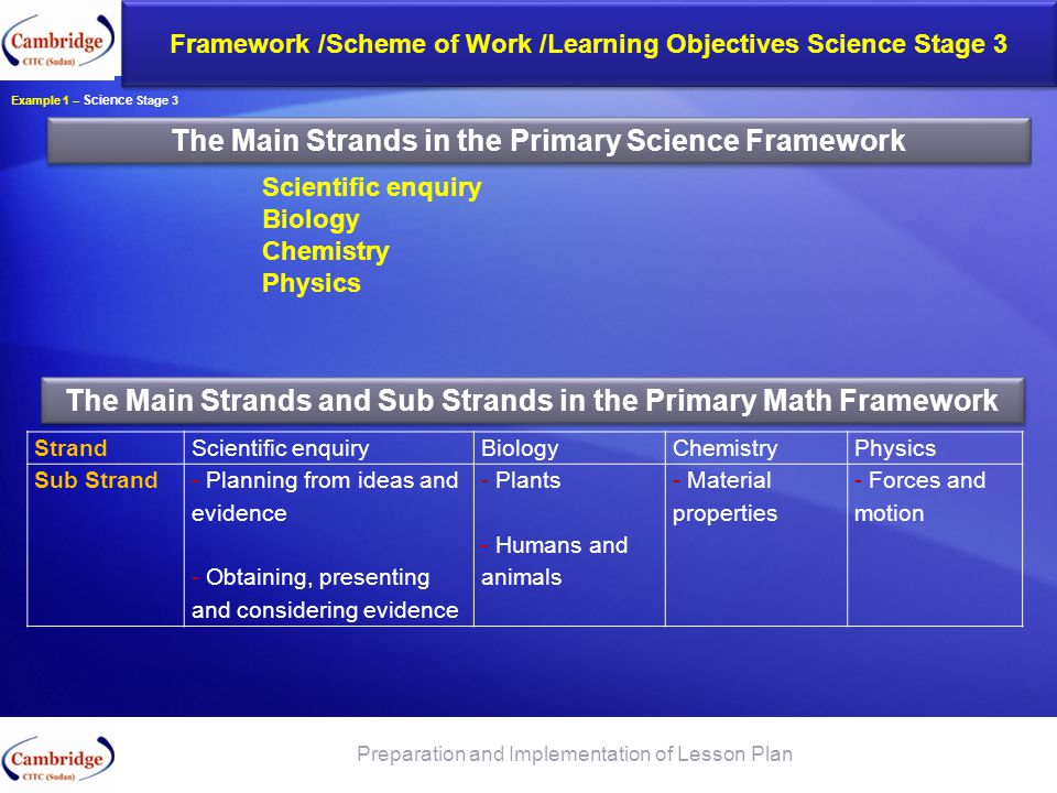 The Main Strands in the Primary Science Framework