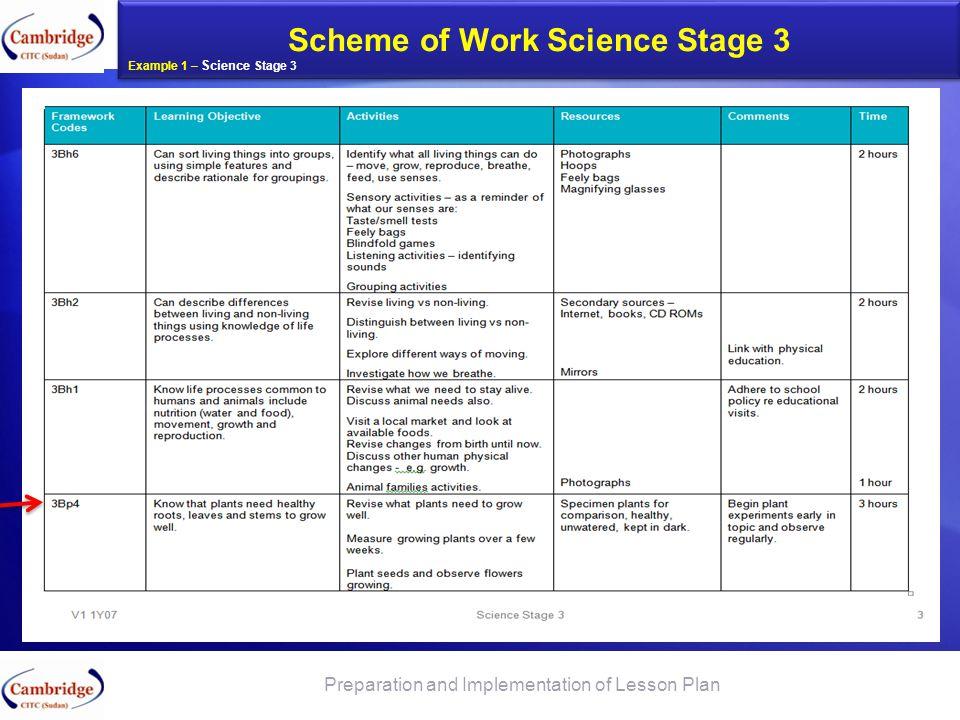Scheme of Work Science Stage 3