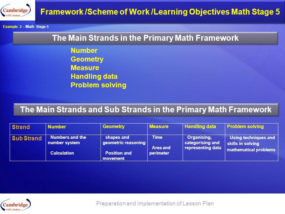 Framework /Scheme of Work /Learning Objectives Math Stage 5
