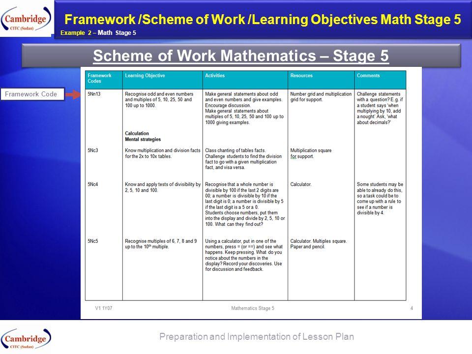 Scheme of Work Mathematics – Stage 5